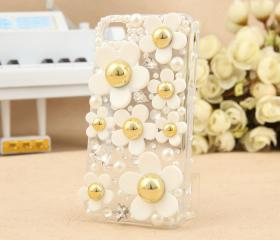 [grlhx110001]Cute Fresh Daisy Rhinstone Transparent Hard Cover Case For Iphone 4/4s