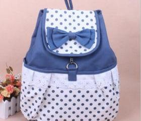 [grdx02092]Cute Bowknot Lace Blue Backpack