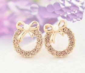 [grlhx130013]Cute Bowknot Circle Rhinestone Earrings
