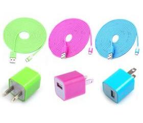 [grdx02193]Total 6pcs/Lot! Cool Colouful 3PCS USB Cord And Charger For Iphone 5