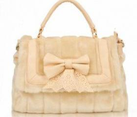 [grlhx120025]New Lovely Leather Bowknot Lace Bag