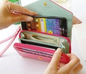 [grdx00172A] Pink Phone bag purse change purse Wallet With Card Pocket