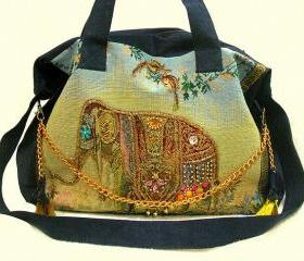 [grlhx120047]Cool Shiny Retro Elephant Handbag Shoulder Bag