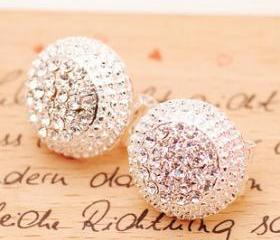 [grlhx130029]Shniy Rhinestone Cap Earrings