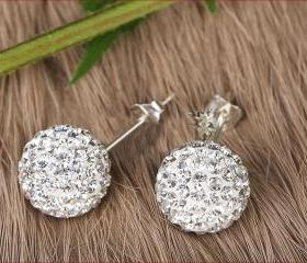 [grlhx130031]Nice Sparking Rhinestone Ball Earrings