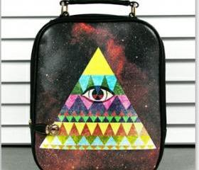 [grlhx120060]Cool Colorful Shiny Triangle Eye Backpack bag 
