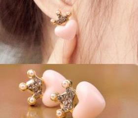 [grlhx130036]Sweet Heart Rhinestone Crown Earrings