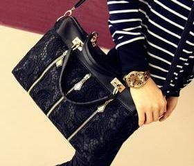 [grd03060]Fashion Black Lace Handbag Shoulder bag
