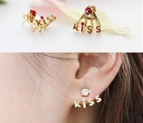[grdx02166]Red Cute Kiss Rhinestone Earrings